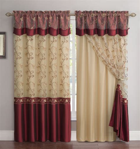Maroon Window Valances by All In One Burgundy Window Curtain Drapery Panel
