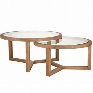 Table Basse Verre Bois : lot de 2 tables gigognes rondes bois et plateau en verre 91x91x47cm pier import ~ Teatrodelosmanantiales.com Idées de Décoration