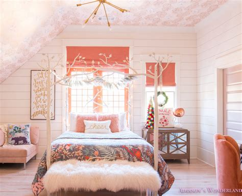 christmas decor  addisons coral girls bedroom