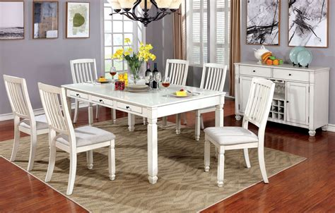 furniture  america kaliyah vintage white dining room set