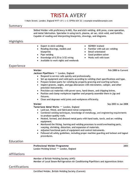welder resume  livecareer