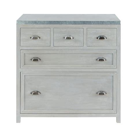 but meuble de cuisine bas meuble bas de cuisine en bois d 39 acacia gris l 90 cm zinc