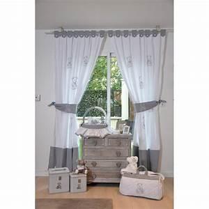 Rideau Gris Et Blanc : rideaux de chambre collection petit ourson gris et blanc cocon d 39 amour ~ Teatrodelosmanantiales.com Idées de Décoration