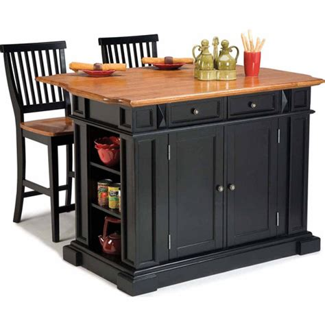home styles traditions kitchen island and stools black