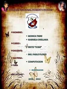 Materia De Investigacion Del Colegio Roberto Rodas  Caratula