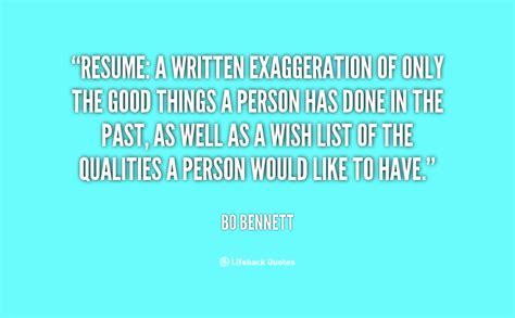 resume a written exaggeration of only the th by bo