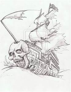 Ghost Pirate Ship Tattoo