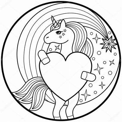 Unicorn Coloring Kleurplaat Colorear Unicornio Heart Unicornios