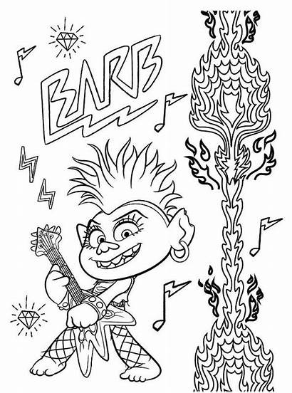 Barb Queen Trolls Tour Coloring Fun Rock