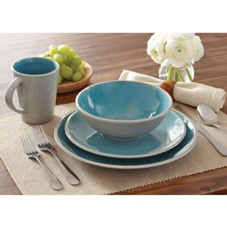 better homes and gardens dishes better homes and gardens 16 dinnerware set aqua