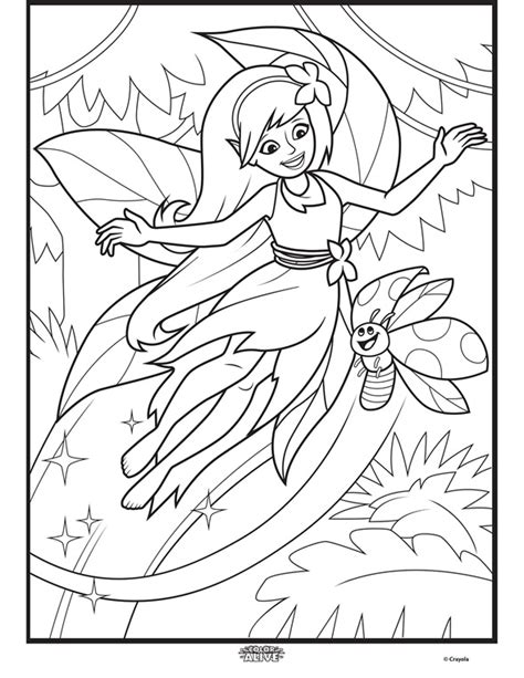 color alive enchanted forest fairy coloring page