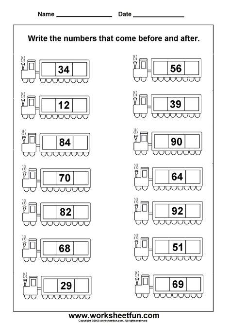 numbers  worksheets  printable