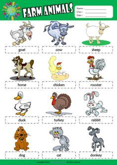 farm animals picture dictionary esl worksheet  kids