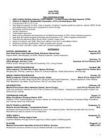 Welding Inspector Resume by White Jason Inspection Resume