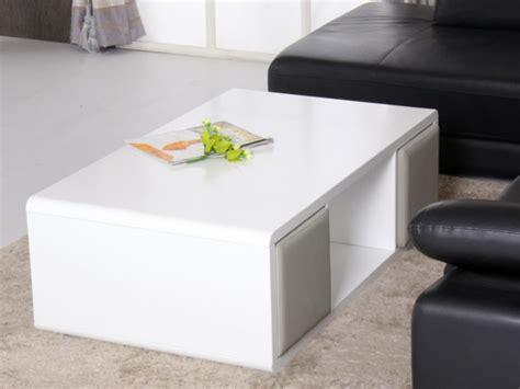 meuble rangement bureau design table basse teresa 4 poufs inclus mdf laqué blanc