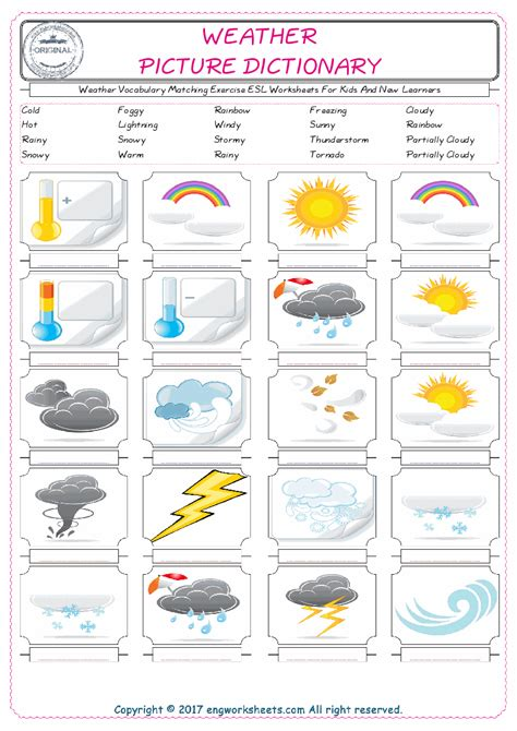 Weather Vocabulary Matching Exercise Esl Worksheets For Kids And New Learners