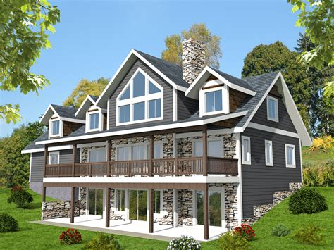 3 Bed Sloping Lot House Plan with Grand Rear Deck