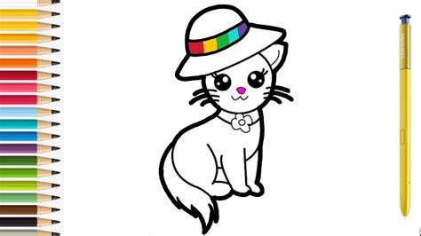 gambar kartun kucing untuk mewarnai