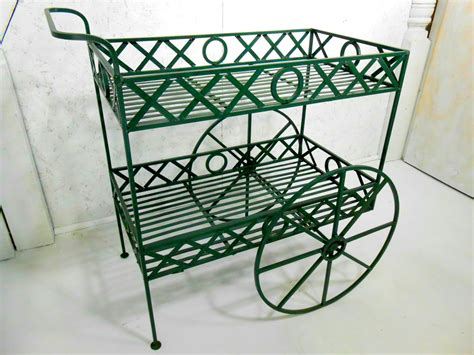 x s and o s wrought iron tea cart plant stand