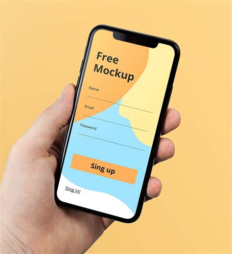 Three free realistic mockups are available today. Free iPhone X in Hand Mockups | Mockuptree