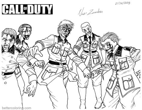 call color call of duty coloring pages zombies free printable