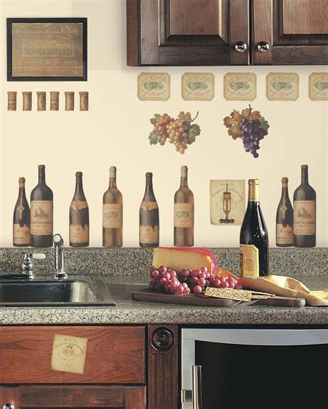 Wine Tasting Wall Decals Grapes & Bottles New Stickers