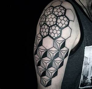 80 Honeycomb Tattoo Designs For Men - Hexagon Ink Ideas