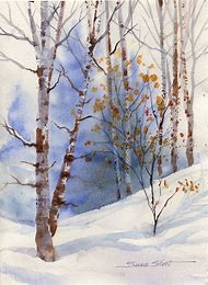 Winter Landscape Watercolor Painting