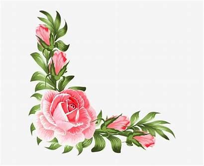 Corner Pink Rose Clipart Decoration Flower Floral