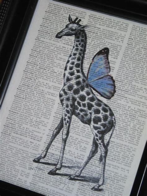 steampunk giraffe blue wings dictionary print dictionary