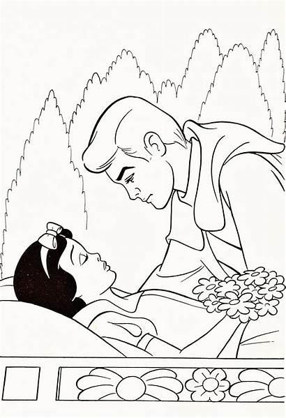 Coloring Disney Snow Princess Prince Pages Walt