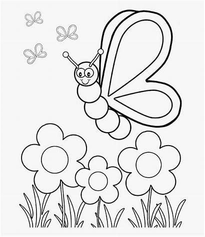Coloring Butterfly Flower Preschool Printable Flew Pngitem