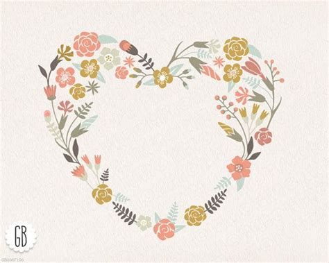 floral wreaths heart antlers pastel color clip art
