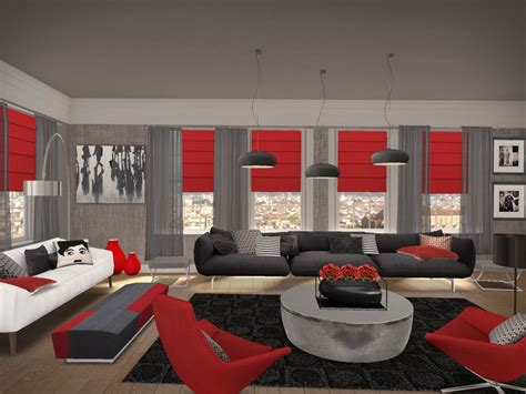 Red Grey White Living Room : Gray And Red Living Room
