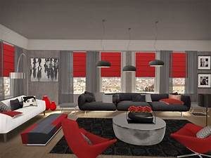 Grey and red living room designs living room for Gray and red living room