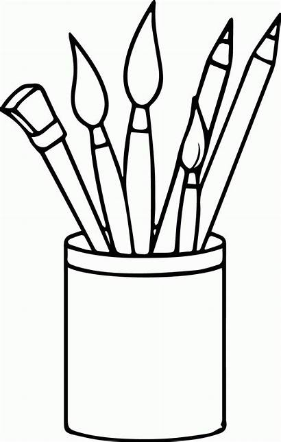 Coloring Paint Supplies Clipart Brushes Pencils Painting