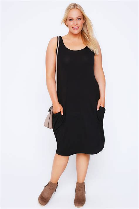 black drape dress black drape pocket sleeveless jersey dress plus size 14 to 32