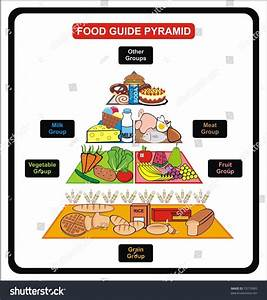 Vector Food Guide Pyramid Including Groups Stock Vector