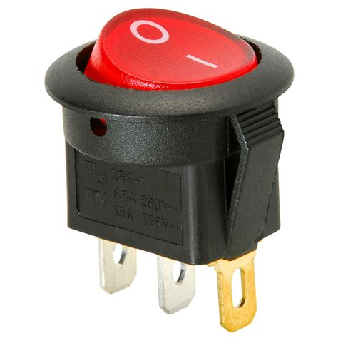 Spst Round Rocker Switch Red Illumination Vac Ebay