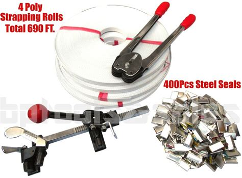 strapping tool kit poly  feet strap  steel seals tools roll supply set ebay