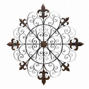 shop woodland imports 42 in w x 42 in h frameless metal With kitchen cabinets lowes with fleur de lis metal outdoor wall art