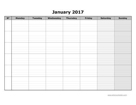 blank calendar template 2017 blank january 2017 calendar templates printable pdf