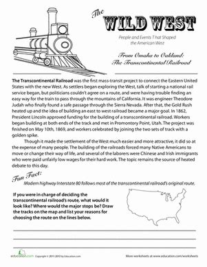 transcontinental railroad history worksheet education com