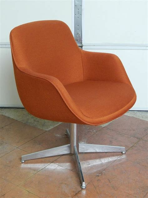 vtg steelcase office desk chair burnt orange modern retro