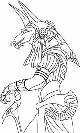 Anubis Egyptian God Drawings Sketch Render Deviantart Coloring Template sketch template