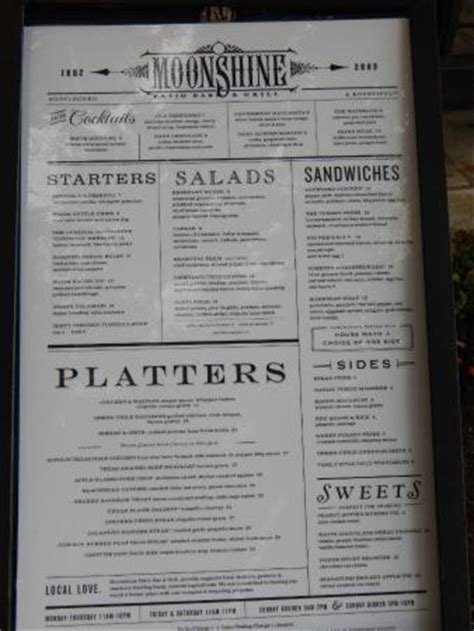 menu photo de moonshine patio bar grill