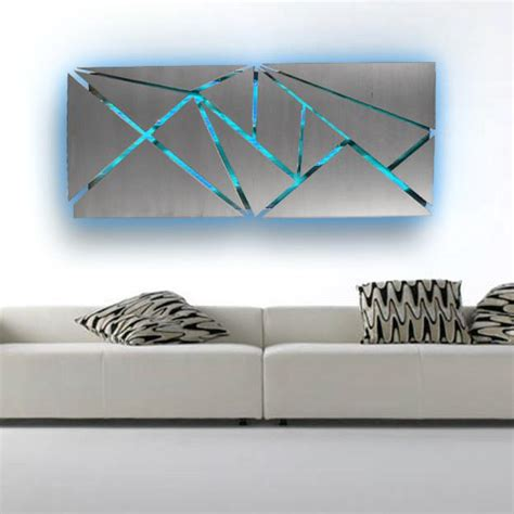 metal wall with infused color changing led lights