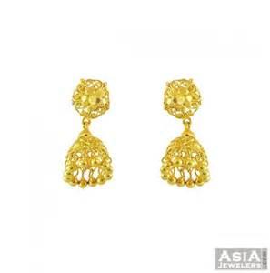 jhumki style earrings in gold 22k yellow gold jhumka earrings ajer56019 22k fancy