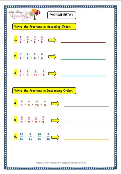 grade 3 maths worksheets 7 4 ascending and descending