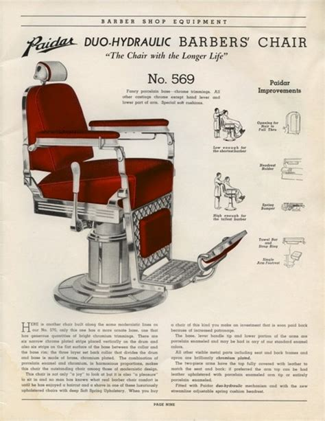 Paidar Barber Chair Manual 1930 s paidar barber shop shop fixtures catalog